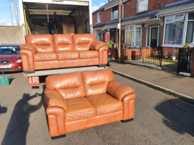 10. 3+2 brown leather sofa