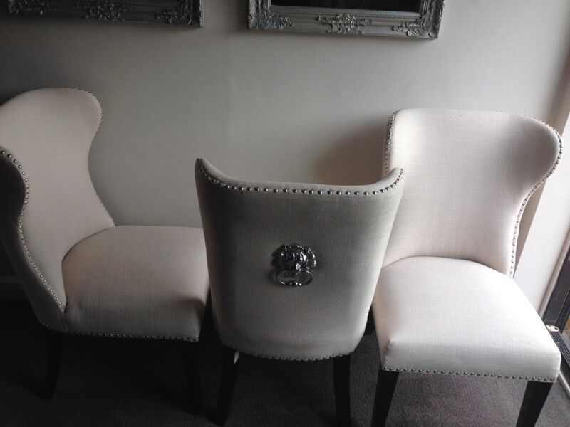 Wing Back Studded Dining Chairs X 4