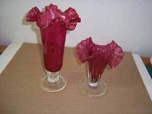 (2) Unique Ruby Red Scalloped Edge Vases.$20.00 for both
