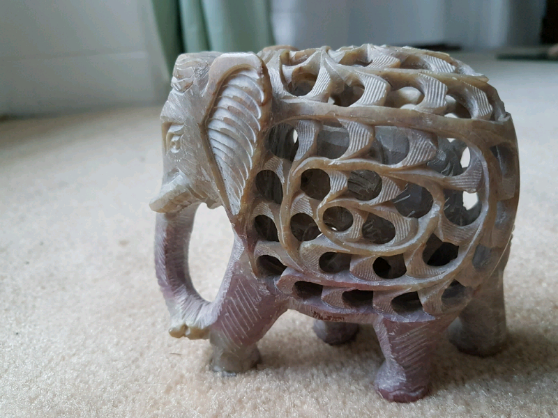 Two elephants - wooden and soapstone carved with baby inside, ornament | in  Sittingbourne, Kent | Gumtree