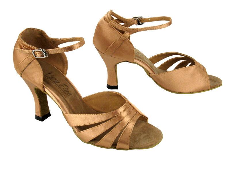 1680 Brown Satin Swing Salsa Mambo Latin Dance Shoes heel 3 Size 7.5 Very fine