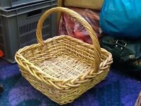 2x woven baskets + small wicker chair only 1ft tall