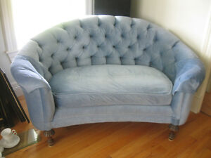 GORGEOUS OLD CURVED-BACK TUFTED ANTIQUE LOVE-SEAT