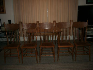 Set of 5 Antique Pressed Back Chairs with New Leather Seats