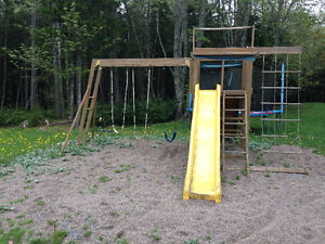 Free wooden outdoors play set