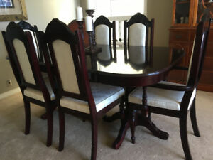8 Piece Solid Wood Dining Table Set, 6 Chairs and Extension Leaf