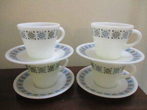 JAJ Pyrex Chelsea Set of 4 Cups and Saucers Kitchener / Waterloo Kitchener Area image 1