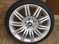 "Genuine BMW Spider 19"" Alloy Wheel & brand new 245 35 19 Dunlop runflat tyre E60 E61 530"