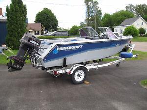 Princecraft aluminum bowrider, 100 HP Johnson, EZ Loader trailer