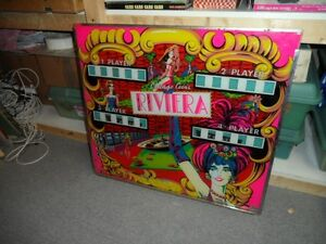 RIVIERA PINBALL BACKGLASS BY CHICAGO COIN London Ontario image 1
