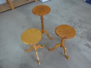 Small wooden round end tables