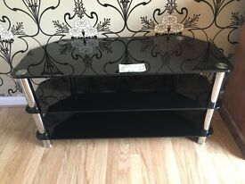 Large TV Black Glass and Chrome Media Stand