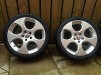 """18"""" GENUINE GTI GOLF MONZA ALLOYS BRAND NEW TYRES JUST REFURBISHED"""