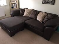 4 Seater Brown Pillowback Fabric Sofa - (available from 12/09)