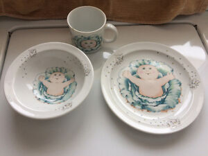 Cabbage Patch bowl, plate and cup