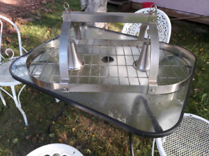 Stainless Overhead Pot Rack with lights