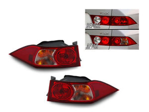 JDM Red/Clear Outer Left+Right Euro Tail Lights For 2004-2005 Acura TSX