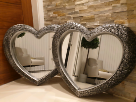 2 x floral heart mirrors