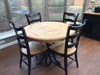 Solid Pine Dining table & 4 chairs, Rustic black French Chic Matching items available