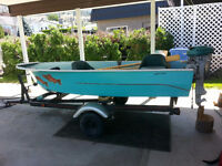 11 Foot Fishing Boat with Vintage Motor and Trailer