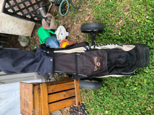 Golf clubs, bag , cart and balls
