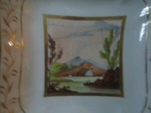 Royal crown derby hand painted Scenic Square shaped Plate
