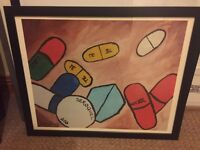 Framed pills print
