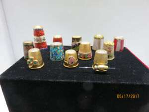 Thimbles, wood, metal, china, plastic and sterling silver