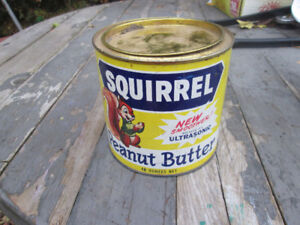 vintage squirrel peanut butter tin can