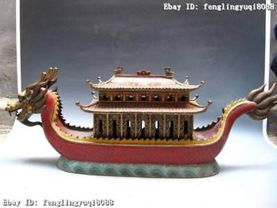 100% Chinese Royal 100% Pure Bronze Copper Handwork cloisonne dragon boat statue
