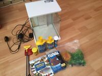 Fish tank heater filter plants book chemicals, etc