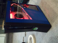 Custom Xbox360 slim blue/black, flash* ,leds,*willing to trade
