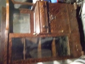"""ANTIQUE CHINA CABINET -  60 1/2"""" high X 44"""" wide X 17 1/2"""" deep"""