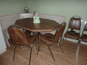 Chrome legged Hexagonal  Brown  table and 6 chairs Retro