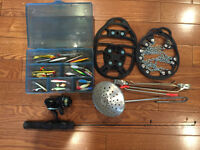 Ice fishing lures, Pole, Reel & More! Great setup!