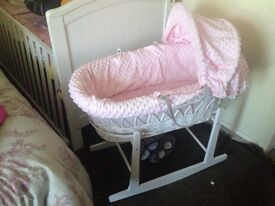 Baby girls pink Moses basket and white rocking stand