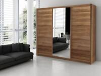 BRAND NEW LARGE 3 DOOR SLIDING WARDROBE WITH FULL MIRROR & DRAWERS IN BLACK WHITE WALNUT WENGE