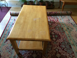 """sturdy heavy wooden coffee table 24"""" x 46"""" free-no dealers"""