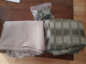 2 Shower Curtains plus one set of hooks. Green and Beige.