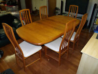 Teak Dining Room Set Expandable Table + 6 Chairs + Buffet