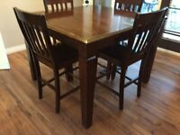 Kitchen table.  Bar height 5 years old.