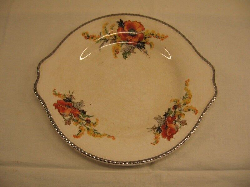 "Vintage Sebring Ivory Porcelain 7"" Goldenrod Poppy Plate USA"