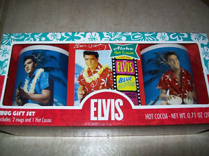 ELVIS BLUE HAWAII 2 MUGS AND HOT COCO SET -- BRAND NEW!!