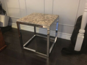 Mid century modern MCM / 70s Chrome side table is available