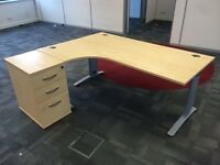 Ergonomic home or office desk with drawer units
