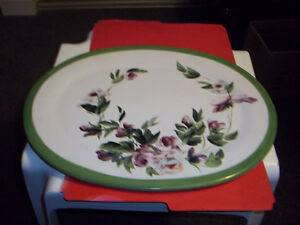 """White oval Leaf Shaped 16"""" wide & a 16 1/2"""" hand painted Platter"""