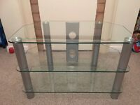 Glass TV unit. H 52 cm W 80 cm D 45 cm