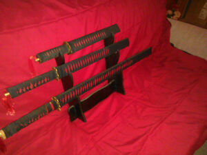 Ninja Sword Set of 3 plus display stand