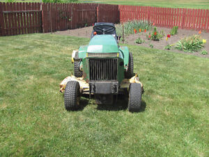 John Deere 317 with mower and tiller