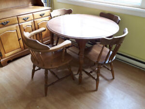 Solid maple Dining room set and hutch